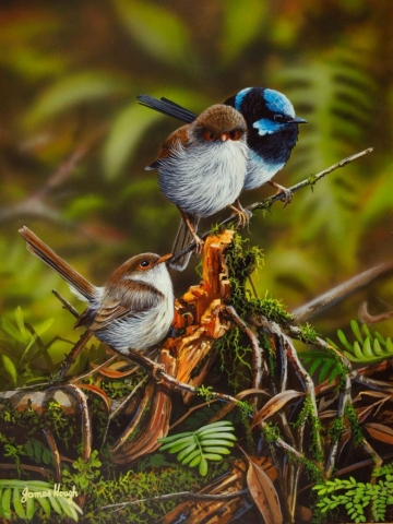 My Flock Fairy Wrens painting by James Hough