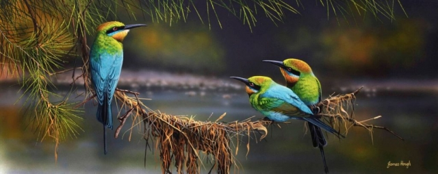River Whispers Bee Eaters painting by James Hough