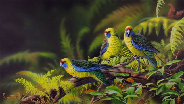 Sanctuary parrots painting by James Hough