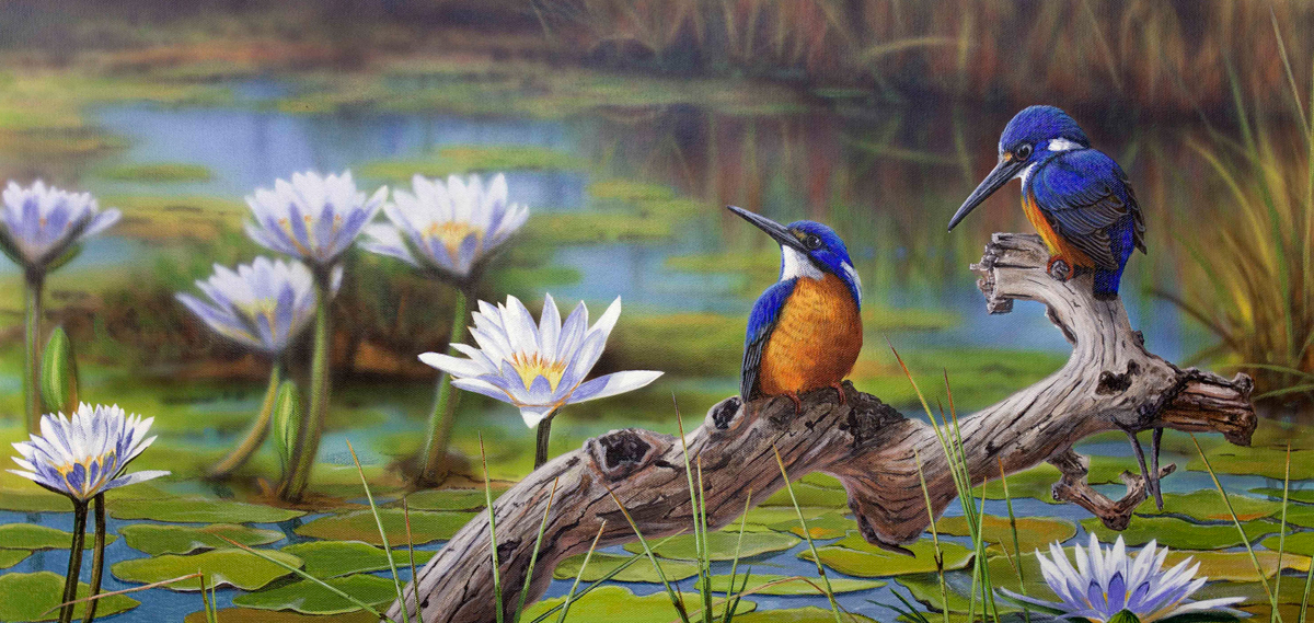 """Fishing the Backwater"" - Azure Kingfishers Painting by James Hough"